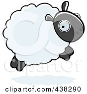 Royalty Free RF Clipart Illustration Of A Sheep Leaping by Cory Thoman