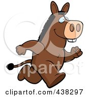 Royalty Free RF Clipart Illustration Of A Donkey Running Upright by Cory Thoman