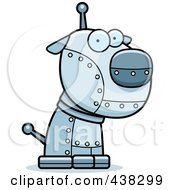 Royalty Free RF Clipart Illustration Of A Metal Robotic Dog by Cory Thoman
