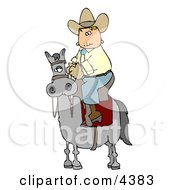 Cowboy Riding High On A Horse Clipart