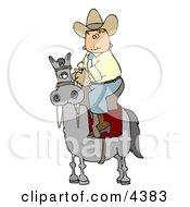 Cowboy Riding High On A Horse