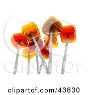Clipart Illustration Of Orange Flavored 3d Lollipops