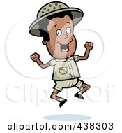 Royalty Free RF Clipart Illustration Of A Black Safari Boy Jumping