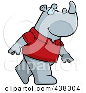 Royalty Free RF Clipart Illustration Of A Rhino Wearing A Red Shirt And Walking Upright by Cory Thoman