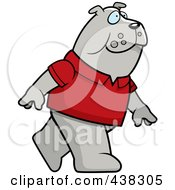 Royalty Free RF Clipart Illustration Of A Bulldog Wearing A Red Shirt And Walking Upright by Cory Thoman