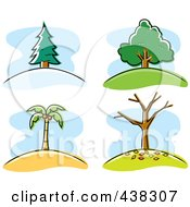 Royalty Free RF Clipart Illustration Of A Digital Collage Of Trees by Cory Thoman