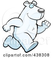 Royalty Free RF Clipart Illustration Of A Polar Bear Running Upright by Cory Thoman