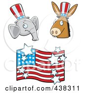 Royalty Free RF Clipart Illustration Of A Digital Collage Of A Republican Elephant Democratic Donkey And American Flag by Cory Thoman