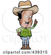 Royalty Free RF Clipart Illustration Of A Black Cowboy With An Idea
