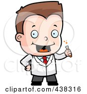 Royalty Free RF Clipart Illustration Of A Science Boy Holding A Test Tube by Cory Thoman