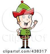 Royalty Free RF Clipart Illustration Of A Christmas Elf Waving