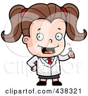 Royalty Free RF Clipart Illustration Of A Cute Scientist Girl Holding A Test Tube by Cory Thoman