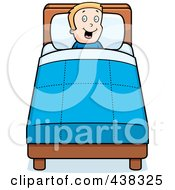 Royalty Free RF Clipart Illustration Of A Happy Boy In Bed