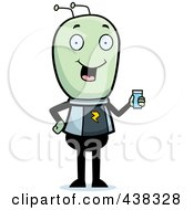 Royalty Free RF Clipart Illustration Of A Green Alien Holding A Glass Of Water