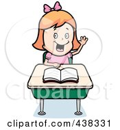 Royalty Free RF Clipart Illustration Of A Red Haired Girl Raising Her Hand At Her Desk by Cory Thoman