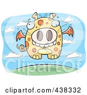 Royalty Free RF Clipart Illustration Of A Flying Spotted Dragon by Cory Thoman
