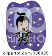 Royalty Free RF Clipart Illustration Of A Girl Astronaut Flying In Space With A Jetpack by Cory Thoman