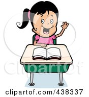 Royalty Free RF Clipart Illustration Of A Black Haired Girl Raising Her Hand At Her Desk by Cory Thoman