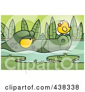 Royalty Free RF Clipart Illustration Of A Bird On An Alligators Nose by Cory Thoman