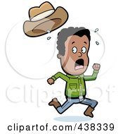 Royalty Free RF Clipart Illustration Of A Black Cowboy Running Scared