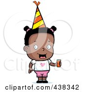 Royalty Free RF Clipart Illustration Of A Black Girl Wearing A Party Hat And Holding Juice
