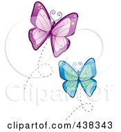 Royalty Free RF Clipart Illustration Of Flying Blue And Purple Butterflies by Cory Thoman