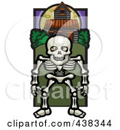Royalty Free RF Clipart Illustration Of A Skeleton By A Haunted House