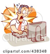 Royalty Free RF Clipart Illustration Of A Mad Businessman Working On A Computer by Cory Thoman