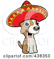 Royalty Free RF Clipart Illustration Of A Chihuahua Sitting And Wearing A Sombrero