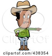 Royalty Free RF Clipart Illustration Of A Mad Black Cowboy Pointing