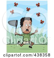 Royalty Free RF Clipart Illustration Of A Black Boy Chasing Butterflies With A Net