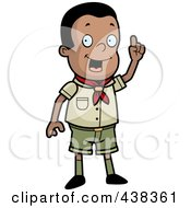Royalty Free RF Clipart Illustration Of A Creative Black Boy Scout In Uniform by Cory Thoman