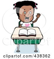 Black Girl Raising Her Hand At Her Desk