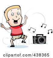 Royalty Free RF Clipart Illustration Of A Blond Boy Dancing To Music