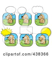 Royalty Free RF Clipart Illustration Of A Digital Collage Of A Dog With Different Word Balloons by Cory Thoman