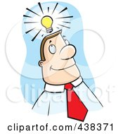 Royalty Free RF Clipart Illustration Of A Businessman With An Idea Over Blue by Cory Thoman