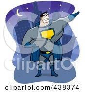 Super Hero Posing Near A City