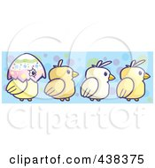 Royalty Free RF Clipart Illustration Of A Border Of Chicks And A Half Egg Shell Over Blue