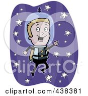Royalty Free RF Clipart Illustration Of A Boy Astronaut Flying In Space With A Jetpack by Cory Thoman