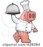 Royalty Free RF Clipart Illustration Of A Pig Chef Carrying A Platter