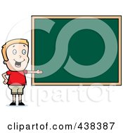 Royalty Free RF Clipart Illustration Of A Blond Boy Presenting A Chalk Board by Cory Thoman