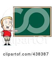 Royalty Free RF Clipart Illustration Of A Blond Boy Presenting A Chalk Board by Cory Thoman