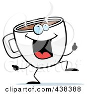 Royalty Free RF Clipart Illustration Of A Coffee Cup Doing A Happy Dance by Cory Thoman