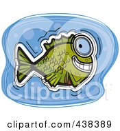 Royalty Free RF Clipart Illustration Of A Green Fish In Blue Water