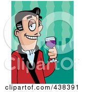 Royalty Free RF Clipart Illustration Of A Man Drinking Fine Wine