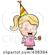 Royalty Free RF Clipart Illustration Of A Blond Toddler Girl Wearing A Party Hat And Holding Juice by Cory Thoman