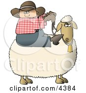Young Preteen Cowboy Riding A Sheep Clipart
