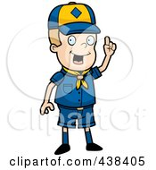 Royalty Free RF Clipart Illustration Of A Cub Scout Boy With An Idea by Cory Thoman