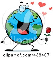 Royalty Free RF Clipart Illustration Of A Romantic Globe Holding A Single Rose
