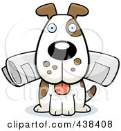 Royalty Free RF Clipart Illustration Of A Dog Sitting With The Newspaper In His Mouth